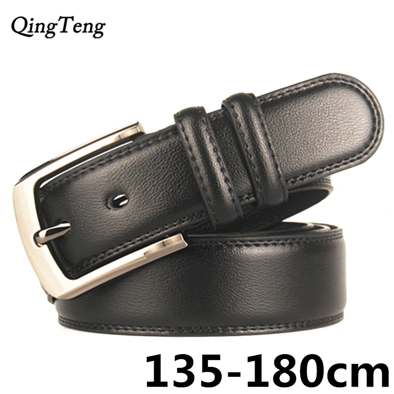 180cm Pin Buckle Big Size Genuine Leather Belts Of Men High Quality Jeans Strap Male Leather Belt Long Waistband Drop Shipping
