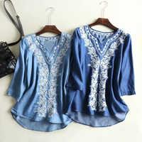 86e168121fac5 2019 новая Джинсовая блузка женская с v-образным вырезом белая вышивка  женские топы и блузки
