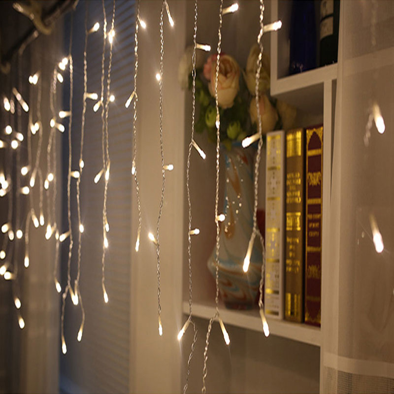 SVELTA LED Curtain Lights 4M Drop 0.6m Garland Christmas Fairy Lights Outdoor For Home Holiday Wedding Xmas Party Decoration LED