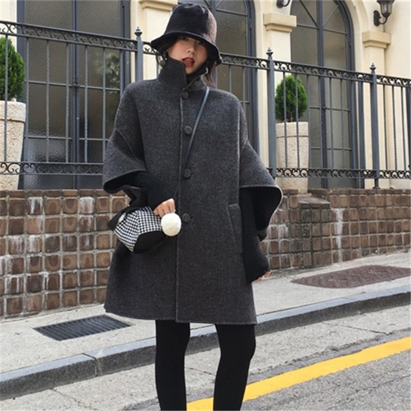 camel Style Longue noir Vintage Femmes D'hiver Coréen Laine Pardessus Beige Manteaux Mode Cape 2018 Manteau 6SBw4x