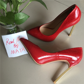 MAYA REAL PHOTO High Heels Pumps shoes Pointed Toe PU Patent Leather Ladies Sexy Stiletto 12CM