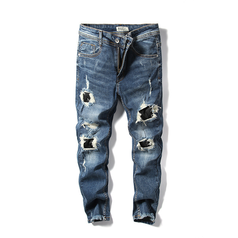 MORUANCLE New Fashion Mens Destroyed Jeans Pants Hi Street Distressed Denim Trousers For Man Ripped Jean Joggers Washed Blue