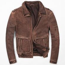 2018 Men Retro Vintage Brown Leather Pilot Jacket Plus Size XXXXXL Men Winter Thick Military Leather