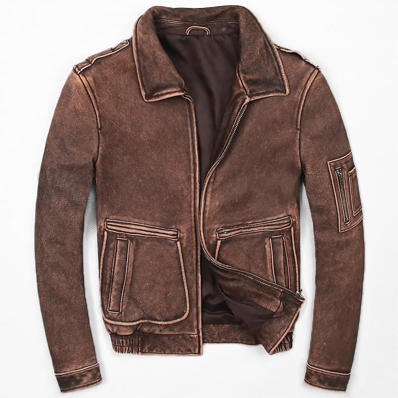 HARLEY DAMSON Vintage Brown Men Pilot Leather Jacket Plus Size XXXXXL Winter Thick Genuine Cowhide Military Leather Coat