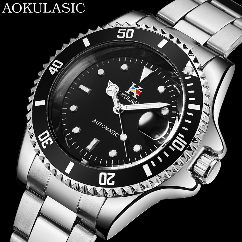 AOKULASIC Automatic Mechanical Men Watch Top Brand Luxury Date Sport Mens Watches Stainless Steel Military Business Male Clock tourbillon men watches automatic mechanical hollow luxury wrist watch hodinky stainless steel male clock date business watches