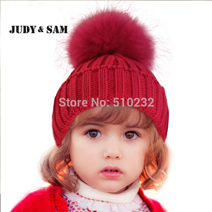 New 2015 Baby Kids Snow Hat Winter Wool Knit Beanie Raccoon Hats For Children Apparel Accessories