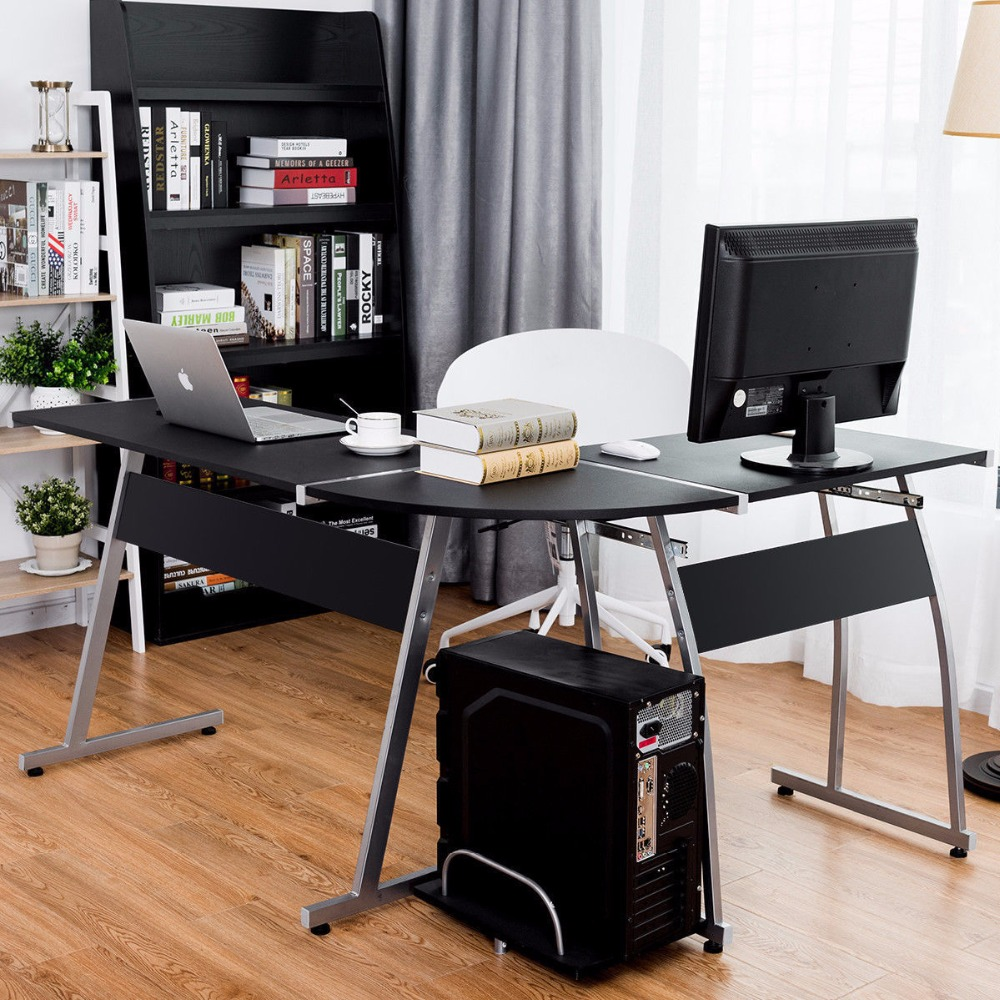 Giantex Corner Desk L-Shaped Office Wood Large PC Game Table Workstation Home Furniture HW55413