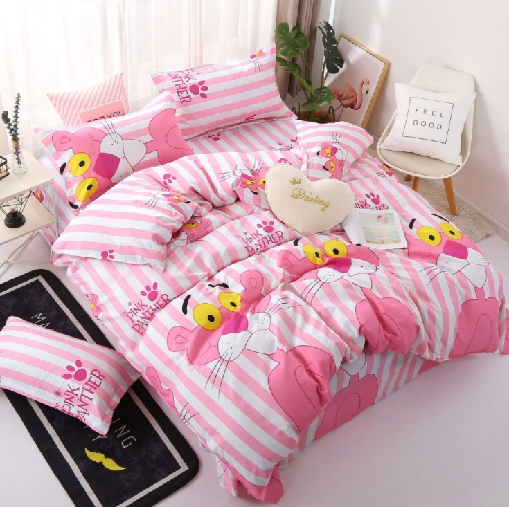mylb Home Textile Pink Girl Heart Bedding Set 3/4pcs Quilt Cover Queen Full King Size Children Cartoon Duvet Cover Bedclothes