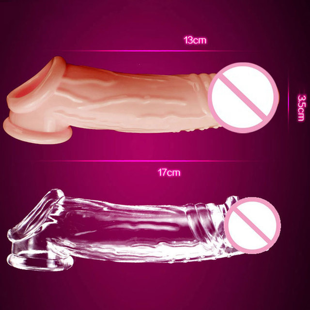 17CM Extend Condom Reusable Penis Delay Impotence Contraceptive Extension G Point Soft Silicone Dildo Sleeve Sex Toys For Men
