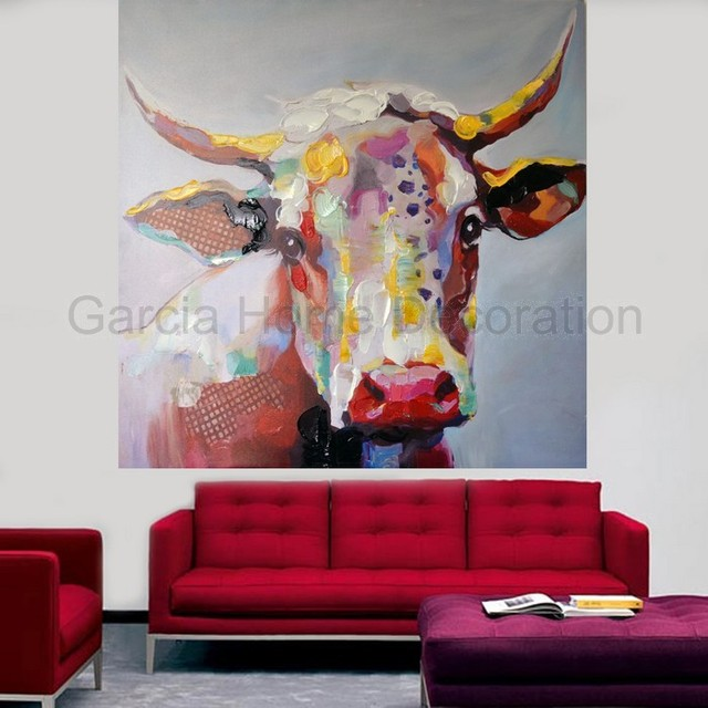 Well known Decorative Hand Painted Cow Head Oil Painting On Canvas Prints  NW22