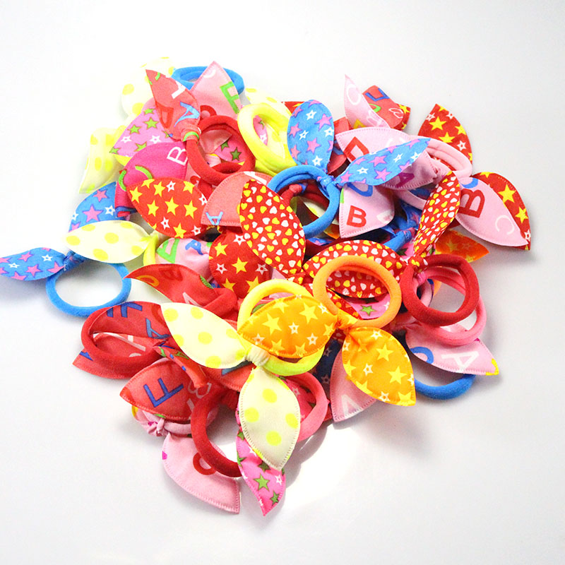 20pcs/lot Rabbit Ears Hair band Children Kids Hair Accessories Scrunchies Baby Girl Elastic Hair Band for Women Girl Rubber Band 100pcs lot cute candy fluorescence kids girl elastic hair bands ponytail holder hair rubber band rope ties gum scrunchies