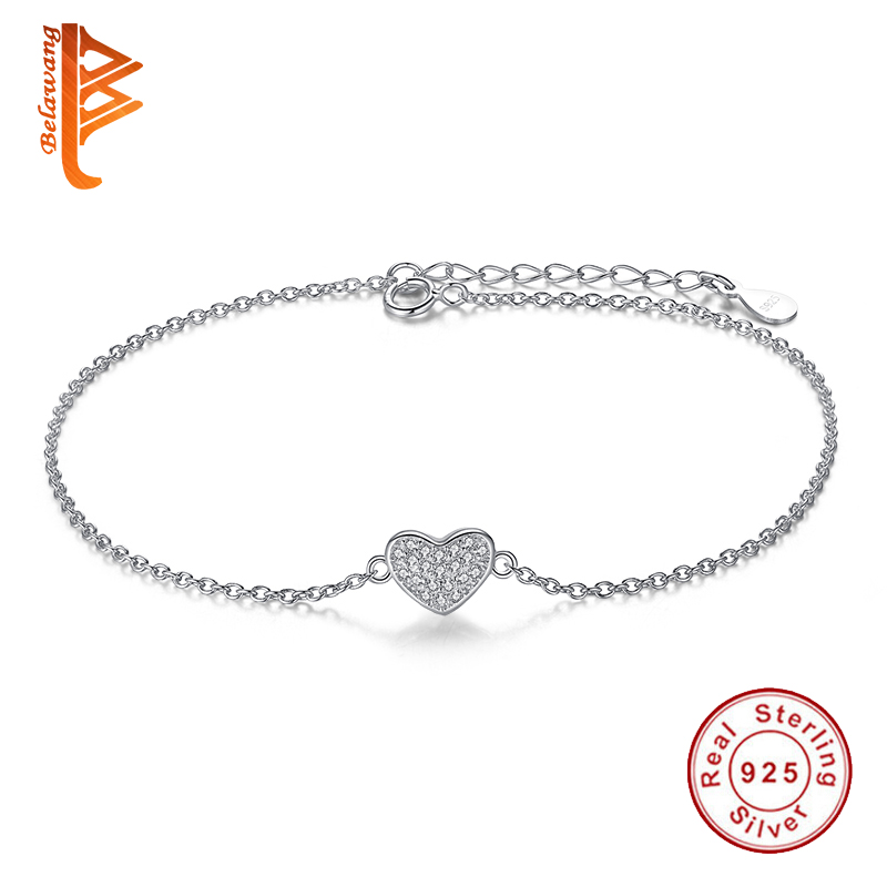 Romantic Original 925 Sterling Silver White CZ Crystal Love Heart Charm Armbånd for Dame Smykker Tilbehør YS1027