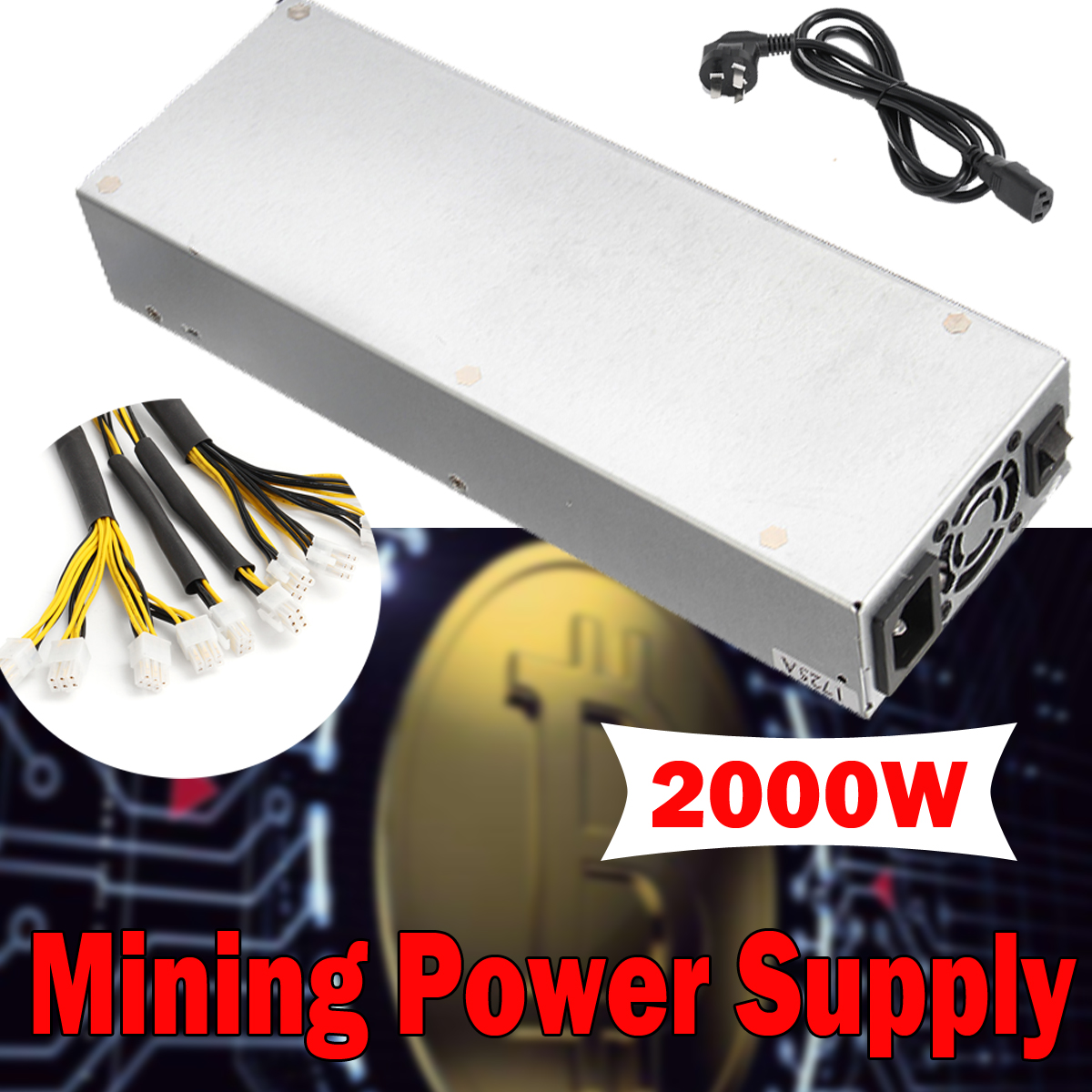 92.5% Efficiency 2000W Mining Power Supply For Eth Rig Ethereum Bitcoin Miner Mining Machine S7 S9 200-240V 90 2000w over 90% efficiency atx12v v2 31 eth coin mining miner power supply active pfc power supply for 8 graphics cards bitcoin
