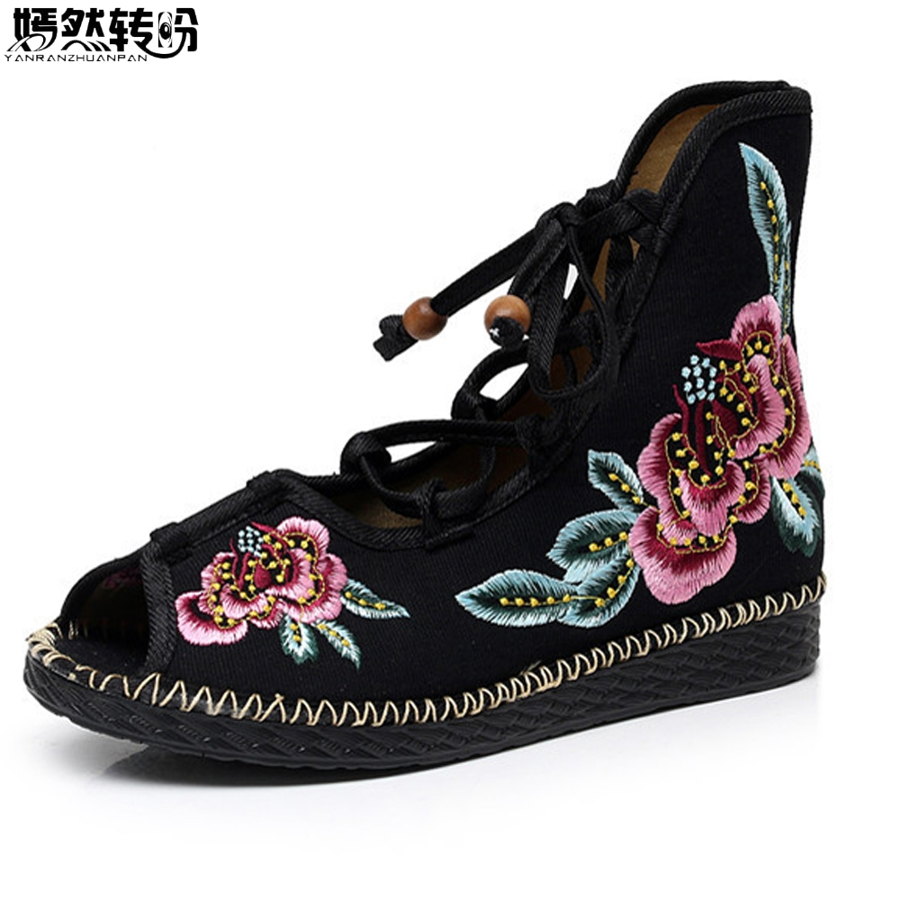 Summer season New Chinese language Girls Boots Flower Sandals Peep Toe Floral Embroidered Footwear Ethnic Lace Up Footwear Girl ladies boots, sneakers girl, boots flowers,Low cost ladies boots,Excessive High...