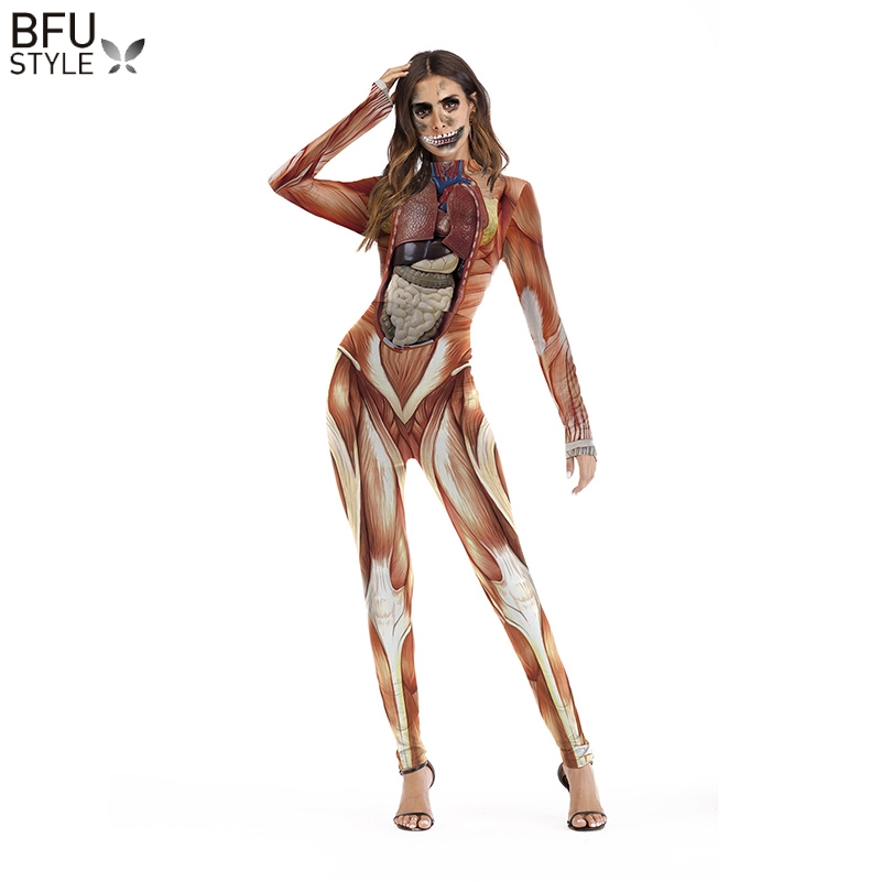 Skeleton Skull Jumsuit Catsuit Women Bodysuit Rompers Halloween Cosplay Funny Costumes Playsuit Bodycon Long Sleeve Fancy