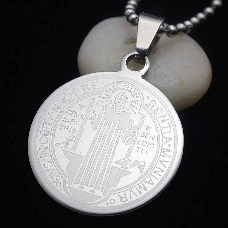 Silver Tone Stainless Steel Patron Staint St.Benedict Holy Medal Pendant Necklace Free Chain 50CM Long Small