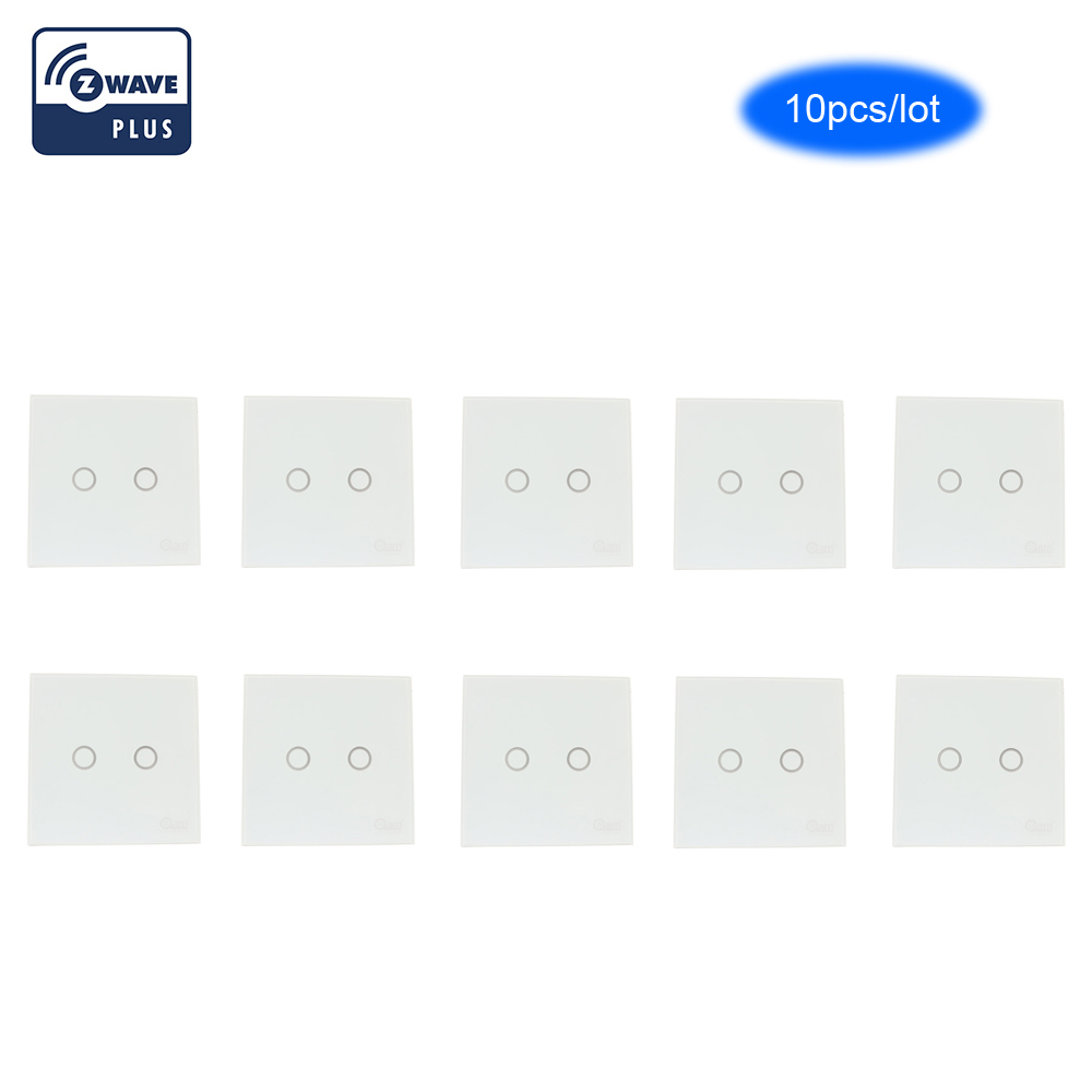 COOLCAM 10pcs/lot Zwave Plus Wall Light Switch 2CH Gang Home Automation Z Wave Wireless Smart Remote Control Light Switch