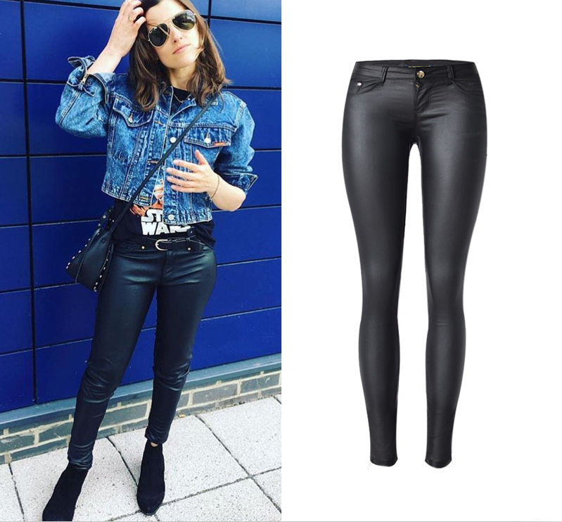 Recubierto de moda mujeres pantalones de baja cintura estiramiento PU cuero completo Skinny lápiz pantalones verano estilo Sexy moda negro pantalones
