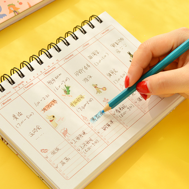 4 pcs\/Lot Flower notebook Coil spiral planner Weekly agenda diary - weekly agenda