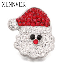 10Pcs/lot Crystal Rhinestone Snap Christmas Santa Claus 18mm metal Snap Button For Bracelet Watches women female DIY jewelry