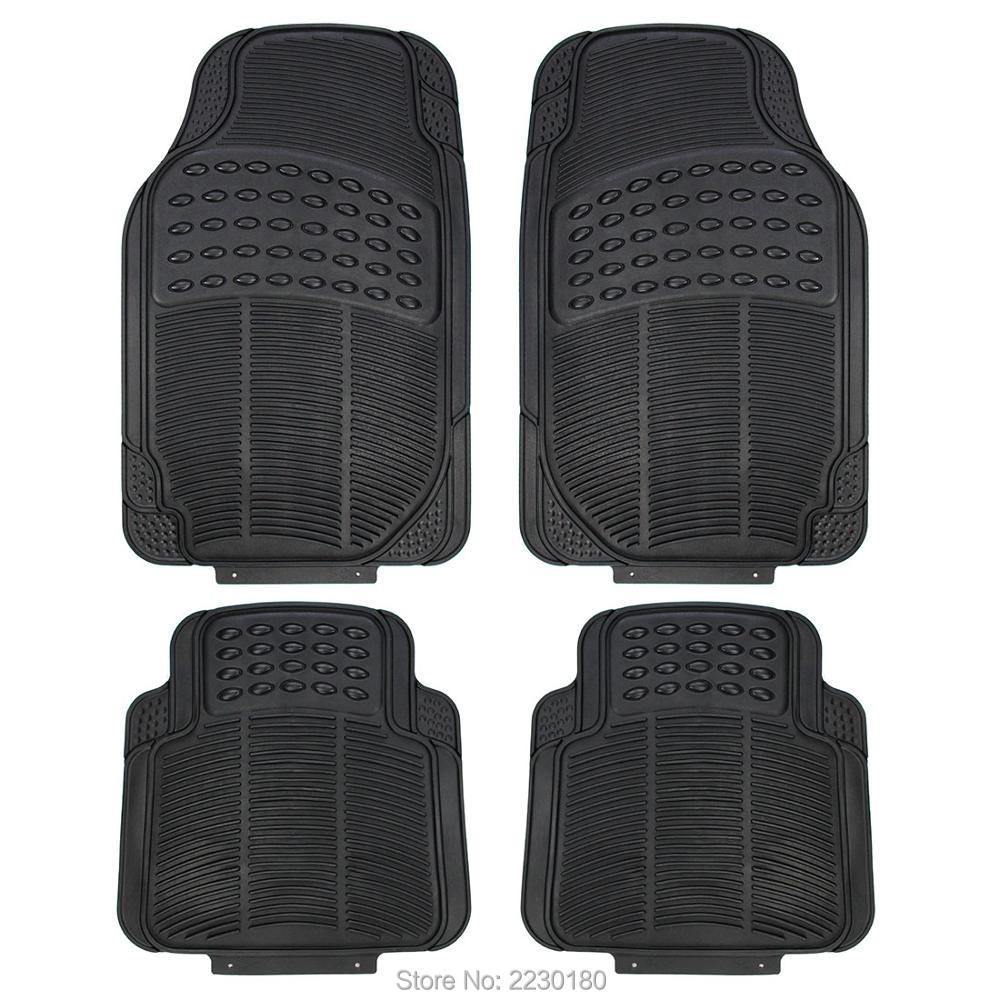 Vauxhall zafira rubber floor mats - 4pc Heavy Duty Rubber Floor Mats Driver Passenger Seat Universal Fit Car Suv Van Trucks Black Beige Gray