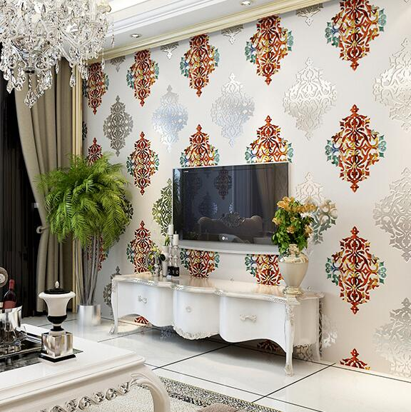 3D Luxury Damascus Background Wallpaper Living room bedroom TV wall wallpaper 3D thick non-woven wallpaper roll book knowledge power channel creative 3d large mural wallpaper 3d bedroom living room tv backdrop painting wallpaper