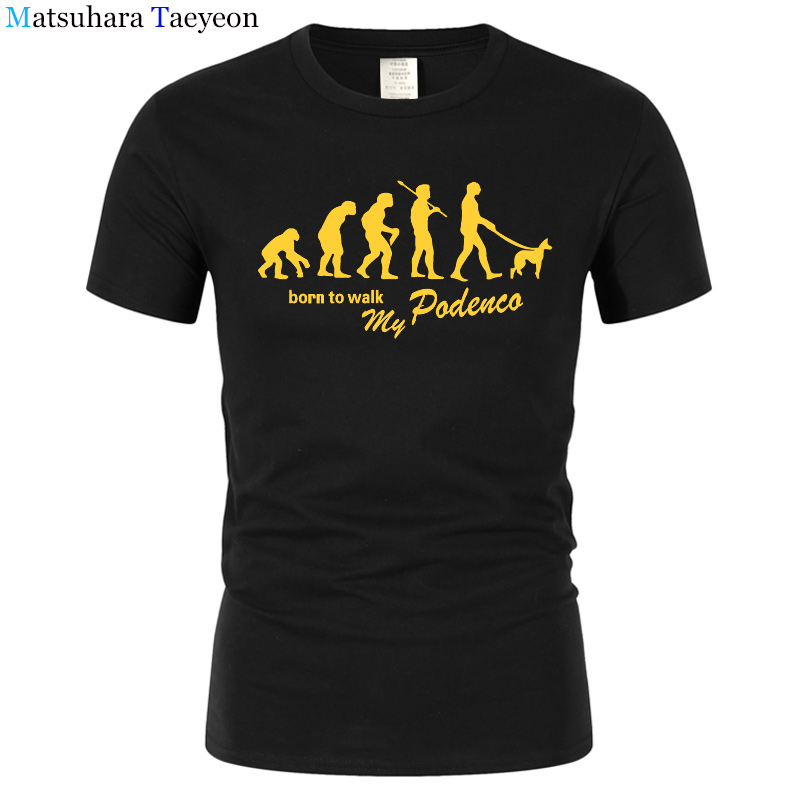 Evolution Podenco Born To Walk T Shirt Men Funny Cotton Short Sleeve Tshirt Streetwear Novelty T-Shirts Men Top Tee T102