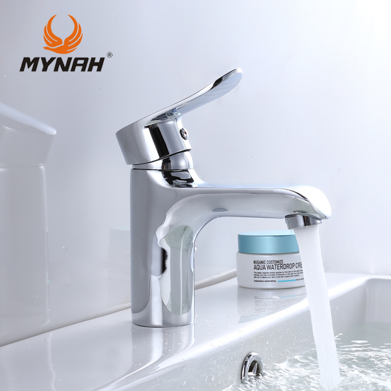MYNAH Russia Free Shipping Piece Basin Faucet Chrome Faucet Ceramic Deck Mounted Single Holder Single Hole