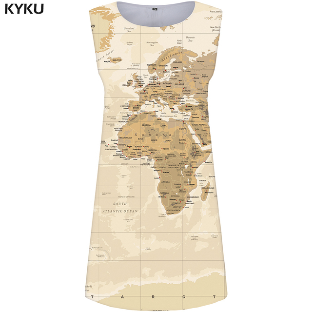 Kyku World Map Dress Women Yellow Office Sundress Y E Print Mini Las Dresses