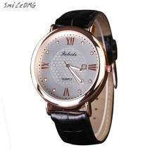 SmileOMG Venda Quente de Moda de Nova Lazer Diamante Relógio de Couro Quartz Analógico Wrist Watch Free Shiping, de setembro de 27