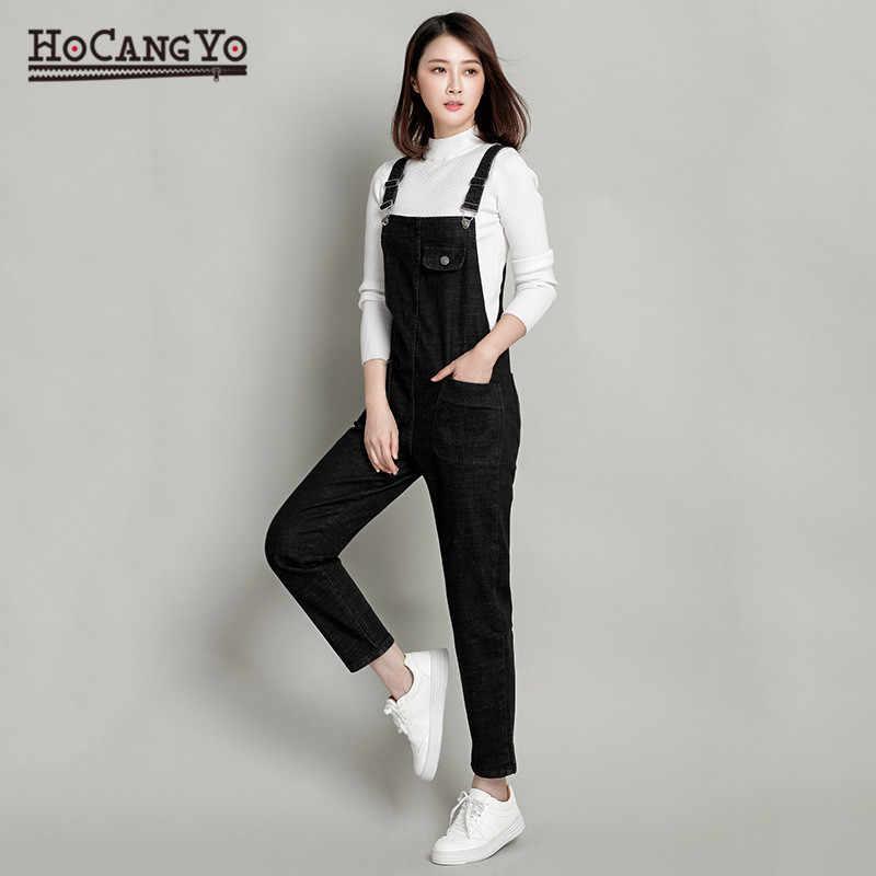 HCYO женские Комбинезоны Длинные свободные повседневные джинсовые комбинезоны женские s комбинезон больших размеров 5XL Женские джинсовые комбинезоны на лямках осенние