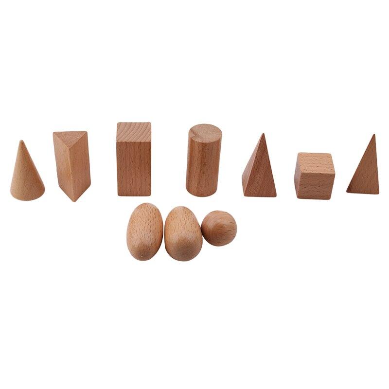 10 Teile/satz Formen Aus Holz Geometrie Blöcke Lernen & Bildung Baby Kinder Geometrie Frühen Bildung Baby Intelligente Entwicklung