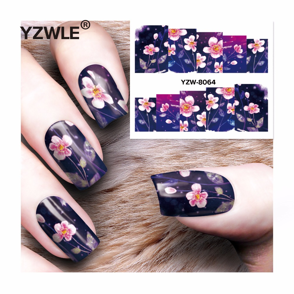 YZWLE 1 Sheet DIY Decals Nails Art Water Transfer Printing Stickers Accessories For Manicure Salon  YZW-8064 yzwle 1 sheet hot gold 3d nail art stickers diy nail decorations decals foils wraps manicure styling tools yzw 6015