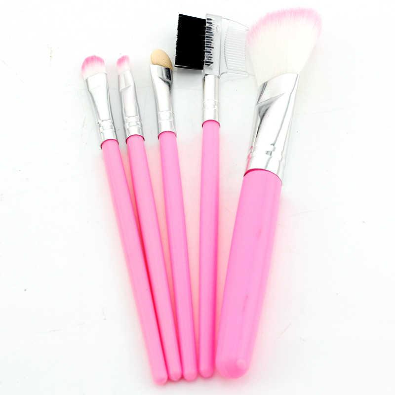 Jweijiao 5 Pcs Profesional Penuh Wanita Makeup Brushes Set Bubuk Eyeshadow Bulu Mata Pipi Warna Pink Set Kuas Kosmetik Alat