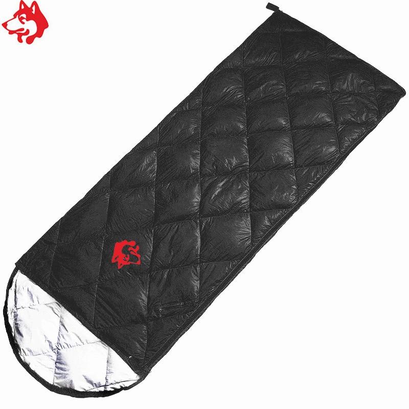 Jungle King comfortable outdoor travelling camping duck down 0 8kg sleeping bag nylon Black Navy Blue