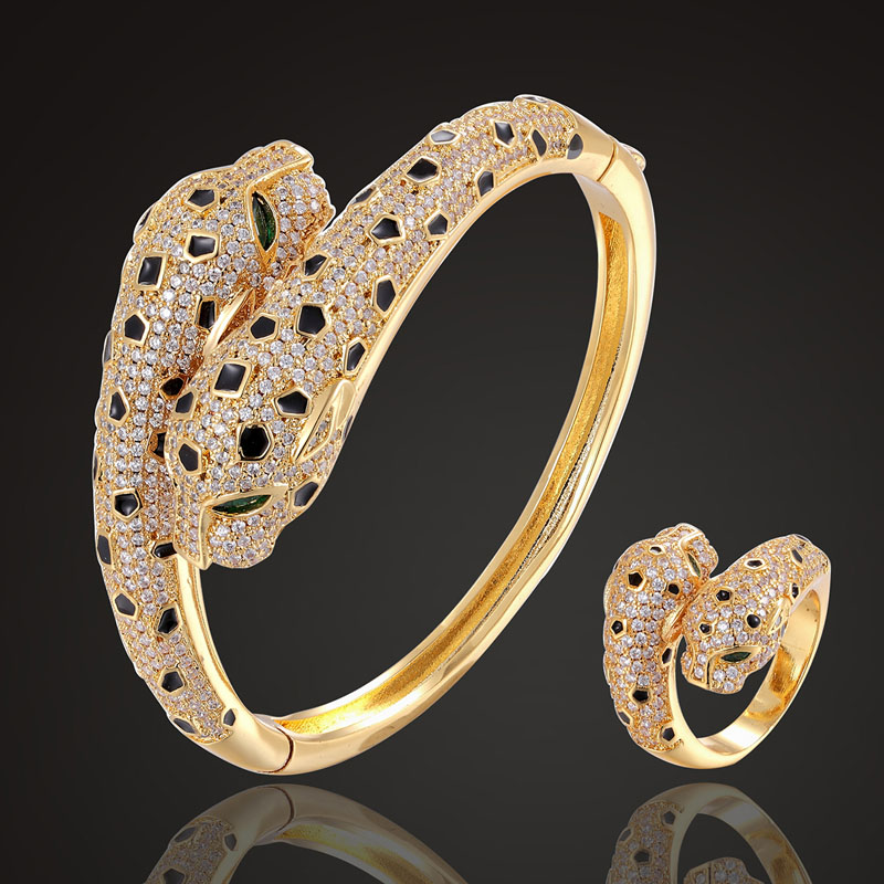 Zlxgirl jet Enamel leopard Animal bangle with ring jewelry sets cubic zircon wedding bangle bracelet bridal