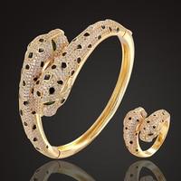 Zlxgirl jet Enamel leopard Animal bangle with ring jewelry sets cubic zircon wedding bangle & bracelet bridal love couple joias