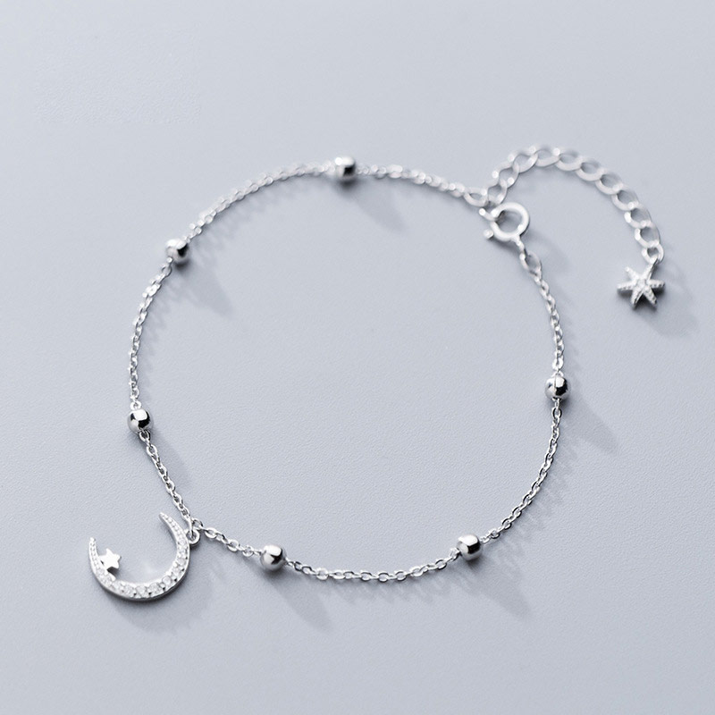 Anklet for Women Girl 925 Sterling silver Charm Bead Adjustable Length Summer Jewellery