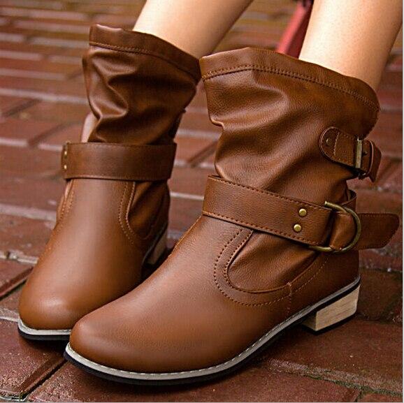 Online Shop 2015 winter fashion women short leather boots punk ...