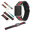 Nylon with Genuine Leather Sport Replacement Strap Wrist Band with Metal Adapter Clasp for 42mm Apple Watch 38mm