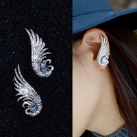 Moda AAA Cubic Zirconia Uccello Ala Polsino Dell'orecchio Orecchini Grande Pietra Principale Colore Oro Bianco Dei Monili Delle Donne Bijoux