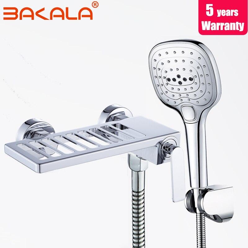 20019 nouveau laiton salle de bains douche robinet unique trou salle de bains fleur arroseur ensemble chrome eau chaude et froide douche mélangeur ensemble