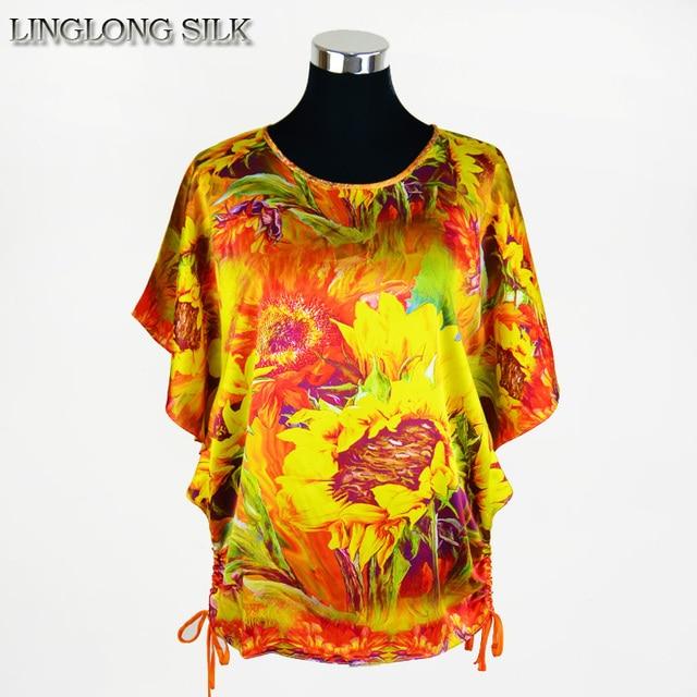Borboleta de seda Camisa Amoreira Seda 100% Natural Impresso Blusas Femininas Plus Size Mulheres Moda Tops Projeto Novo e Exclusivo