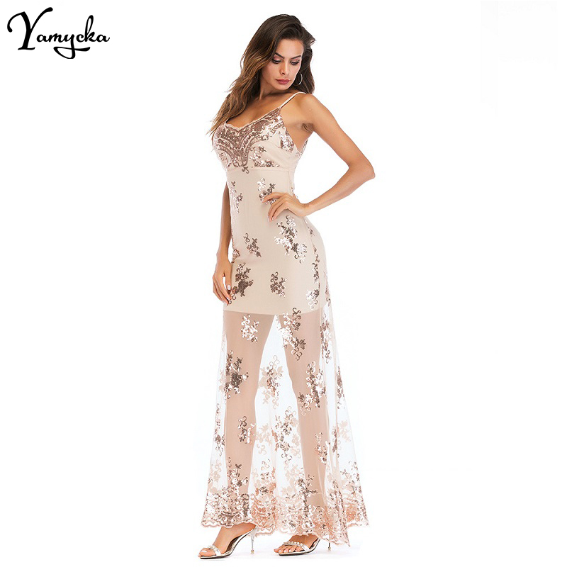 2018 New Summer Gold Sequin Maxi Spaghetti Strap Dress Sexy V neck Backless Women Luxury Party Clubwear Sequined Long Dress in Dresses from Women 39 s Clothing