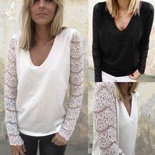 2018 Fall Clothing Women V Ncek Lace Hollow Long Sleeve Tshirt Shirt Shirts