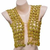 Egypt Sexy Gold Metal Mesh Hollow Flower Coin Tassel Body Chain Waistcoat Harness Bikini Bra Belly Chain India Tribal Jewelry