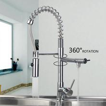 Warm/Kalt Wasser herausziehen Down Spray Stream-Deck Montieren Doppel Griffe Basin Waschbecken Schiff Küche Torneira Cozinha Tap Mixer Wasserhahn