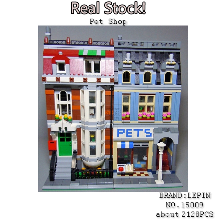 Lepin 15009 2128pcs City Creator Pet Shop Supermarket model Building Blocks Bricks toys for children gifts Compatible 10218 lepin 15009 city street pet shop model building kid blocks bricks assembling toys compatible 10218 educational toy funny gift