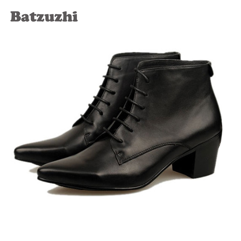 British Men Fashion boots Genuine Leather Pointed Toe Ankle boots 6.5 CM High Heels Genuine Leather Ankle Boots Men Lace-up free shipping 2015 women s fashion pointed toe with lace up genuine leather ankle boots larger size us 4 19