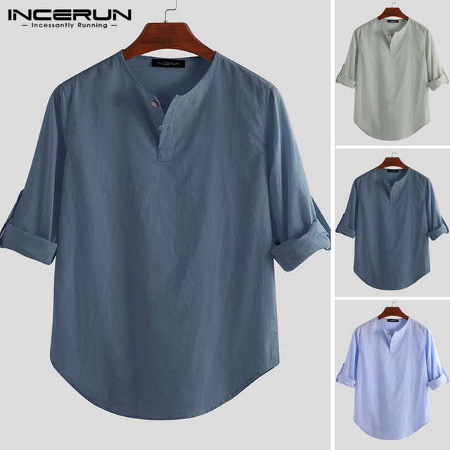 INCERUN Fashion Men Shirt Long Sleeve Cotton Solid Casual Basic Shirt Men Tops Leisure Fitness Pullovers Camisa Plus Size 2019 4